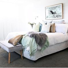 Is this perfection? Create this inviting bedroom as styled by @threebirdsrenovations featuring our Australian made Scout rectangle ottoman in mystere #ozdesign #ozdesignfurniture #homefurnishings #bedroom #styling #australianmade #sleep #interiortrends #pastels #threebirdsrenovations #velvet #homedecor #style #design #interiors #interiordesign #roominspo #renovation #homeimprovement #hbstyle #roommakeover #tagforlikes #instafollow #F4F #furniture #interiordesign