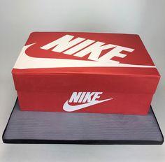 Customized Nike shoebox cake. #cake #nike #nba #shoebox #sculptedcake #logo #alledible #layerafterlayer