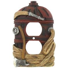 This polyresin Fire Hydrant Double Outlet Cover is the perfect way to bring a touch of charm into your home. In shades of red, cream-gold, and silver, this hydrant-shaped cover features distressed det Fireman Room, Firefighter Bedroom, Firefighter Decor, Firefighter Family, Firefighter Tattoos, Firefighter Wedding, Female Firefighter, Fire Truck Room, Outlet Covers