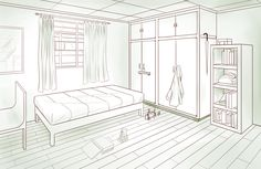 Bedroom - Two-point Perspective by pixelizedfate