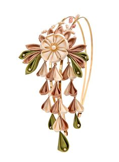 Ume silk slowers kanzashi with the traditional dangles-surprising and unique hair accessory for a blushing bride
