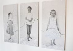 kids with string through multiple pictures