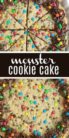 Giant Monster Cookies Monster Cookie Recipe Back To School Recipes Back To School Traditions One Giant Monster Cookie Loaded With Peanut Butter, Oats, Chocolate, And M&M's. This Is A Fun Way To Celebrate The First Day Of School. Giant Cookie Recipes, Giant Cookie Cake, Cookie Cake Birthday, Easy Cake Recipes, Cake Cookies, Cupcake Cakes, Dessert Recipes, M&m Cookie Cake Recipe, Cupcakes