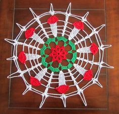 Crochet Doily Christmas decor - White Red and Green Doily - Table decor - Christmas Gift - Vintage style - Heirloom by ElenisCrochet on Etsy