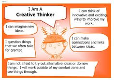 I am a creative thinker. Imagination. Innovative. Questioning. Making connections