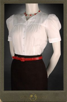 30s 40s blouse JOAN BATISTE cream cotton 1930 1940 swing art deco Vecona Vintage