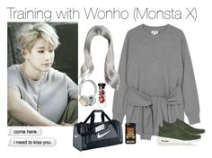 """Training with Wonho (Monsta X)"" by outfitskpopper ❤ liked on Polyvore featuring Monki, NIKE, B&O Play, Moschino, kpop, training, Ulzzang, monstax and wonho"