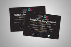 SCOTTISH ASIAN MAGAZINE – A5 invitation card design for Scottish Asian Magazine Launch as landscape print-outs.