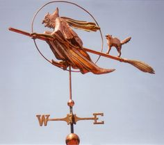 Witch Weathervane with Cat - West Coast Weathervanes
