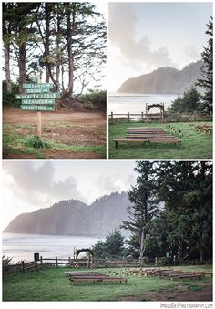 Click on the actual picture and follow the link. Grey colors with coral floral accents. Plus the setting is in Oregon. This is a photographers website so it'll give you ideas on photography too.