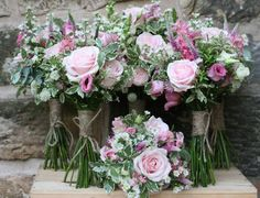 Sweet avalanche rose bouquets for July wedding at Wedderburn Castle. Contact the Stockbridge Flower Company for more details.
