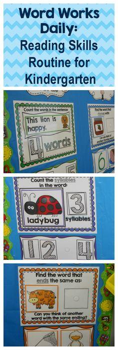 My Kindergarten Obsession : Word Works Daily: Reading Skills Routine for Kindergarten (Win it! Kindergarten Language Arts, Teaching Language Arts, Kindergarten Literacy, Classroom Activities, Kindergarten Calendar, Educational Activities, Classroom Ideas, Preschool, Reading Skills