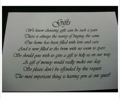 * Wishing Well verse for wedding invites