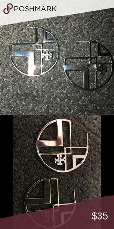 eee446610b60 Tory Burch hoop earrings Authentic Tory Burch metal logo earrings pre owned  These are more