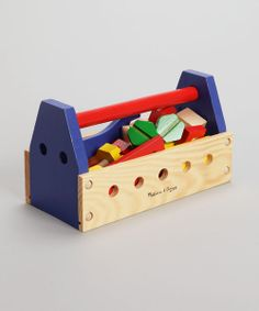 Budding builders can lend a hand with all those home repairs. This easy-carry tool kit is stocked with play nails, screws, nuts, bolts and tools for hours of constructive, creative fun that will help perfect their aim until they're old enough to wield a real hammer. Includes 24 pieces10'' W x 5.55'' H x 4.75'' DSolid wood / plywood