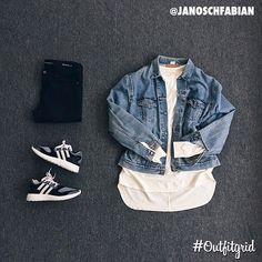 Today's top #outfitgrid is by @janoschfabian. ▫️#FearOfGod #Tee ▫️#Vintage #Levis #DenimJacket ▫️#AdidasY3 #PureBoost #ZGKnit ▫️#SaintLaurent #Denim