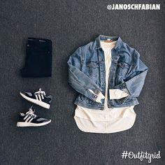 Today's top #outfitgrid is by @janoschfabian. ▫️#FearOfGod #Tee ▫️#Vintage #Levis #DenimJacket ▫️#AdidasY3 #PureBoost #ZGKnit ▫️#SaintLaurent #Denim