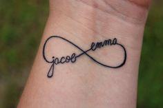 infinity wrist tattoo w/names