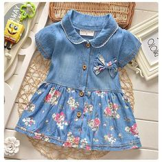 Cheap 2016 summer leisure style children girls flower jean dress baby girls cute…