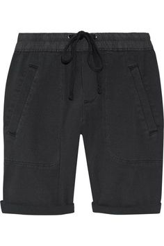 James Perse - Stretch Cotton And Modal-blend Twill Shorts - Charcoal - 3
