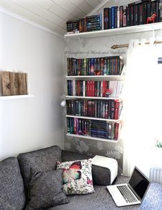 A cozy book room filled with sunlight