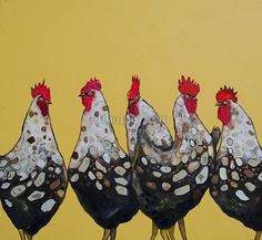 Eli Halpin Oil Paintings - Elegant Roosters in Butter Yellow