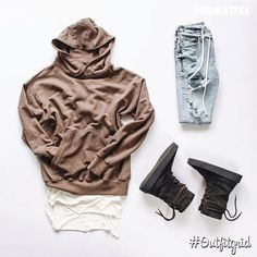 Today's top #outfitgrid is by @itsmattks. ▫️#DanielPatrick #Hoodie & #Tank ▫️#HM #Denim ▫️#YeezySeason2 #CrepeBoots #flatlay #flatlays #flatlayapp www.flat-lay.com