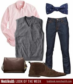 Think you could pull off this bow-tie look? Shirt: J.CrewBag and shoes: CoachJeans: Nudie, Atrium NYC exclusiveVest: Land's EndTie: Br...
