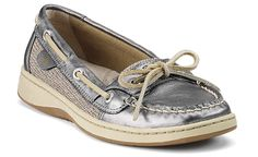 Every year I get another pair of Sperry's and THESE are going to be this Summer's ;-) Pewter Metallic Leather Angelfish Slip-On Boat Shoe $90