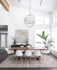 Gorgeous 30 Modern Minimalist Dining Room Design Ideas for Comfortable Dinner Wi. - - Gorgeous 30 Modern Minimalist Dining Room Design Ideas for Comfortable Dinner With Your Family – DECOOR Minimalist Dining Room, Dining Room Modern, Scandinavian Dining Rooms, Living Room Ideas Modern Contemporary, Small Dining, Mid Century Modern Dining Room, Mid Century Dining Table, Modern Contemporary Living Room, Contemporary Apartment