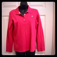 Lilly Pulitzer Pre Shrunken Pink Long Sleeve Polo Lilly Pulitzer Pre Shrunken Pink Long Sleeve Polo Excellent Condition Size Medium Lilly Pulitzer Tops Blouses