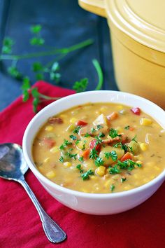 Bacon Corn Chowder (Gluten Free, Dairy Free) Potato Soup - Potato Bacon Corn Chowder is a hearty, easy-to-make soup for chilly fall and winter days. Gf Recipes, Dairy Free Recipes, Potato Recipes, Soup Recipes, Cooking Recipes, Dairy Free Meals, Recipies, Dairy Free Soup, Lactose Free