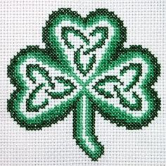 Celtic Knot Shamrock cross-stitch chart with full instructions by Claddagh Cross Stitch