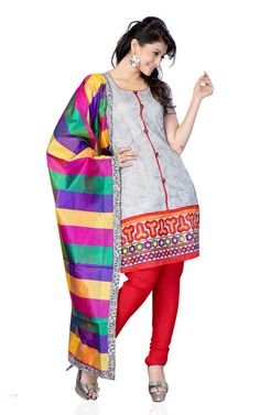 GREY & RED COTTON SALWAR KAMEEZ - DF 103
