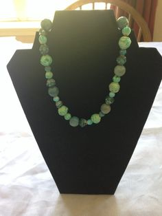Turqoise Blue Green Beaded Choker Necklace by ReclaimYouth on Etsy
