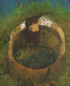 """Let the waters settle, you will see stars and moon mirrored in your Being."" —Rumi  (Artist: Jane Ray) ..*"
