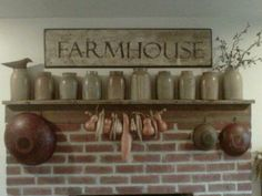 farmhouse mantel - would be fun to use varied sizes of blue canning jars too.