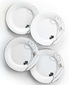 Charter Club Home Set of 4 Grand Buffet Platinum Silhouette Appetizer Plates by Macys. $21.42. Material:Porcelain. Size: 7.5-in Round. Color: White with platinum color trim. MSRP:$70. Wildflowers take off on glazed white porcelain, sparkling as they tumble aimlessly around Platinum Silhouette appetizer plates. A banded edge adds a classic touch to a pattern with modern spirit.. Save 69% Off!