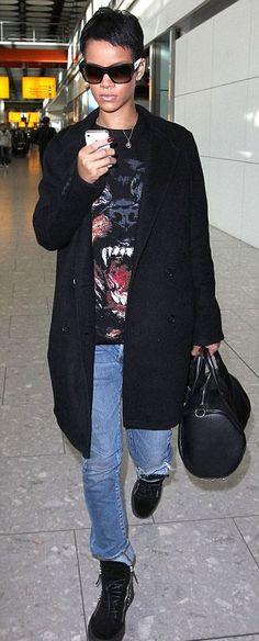 "I. Love. Her!!!!  ""Rihanna's Heathrow Airport Givenchy Rottweiler Tee, Alexander Wang Rocco Bag, and Giuseppe Zanotti Studded Sneakers"""