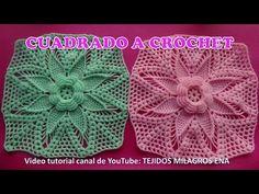 Cuadrado a crochet paso a paso para colchas y cubrecamas en punto espigas y hojas en video tutorial - YouTube