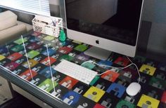 #DIY Floppy Disk Desk Patchwork // #Upcycle This! 10 Ways to Reuse Floppy Disks
