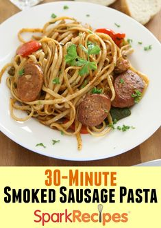 This was DELICIOUS! I added a little onion and red pepper flakes. Will definitely be cooking this again!| via @SparkPeople #pasta #dinner #recipe #30minutemeals