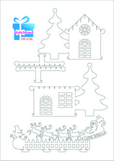 Merry Christams invitation house New Year gift cards kirigami pattern 4