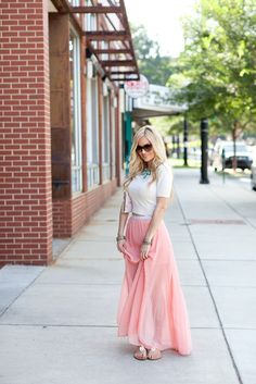 Light pink maxi + embellished sandals + statement necklace #EmilyMaynard