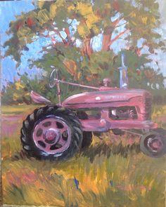 International Harvester Farmall Tractor Plein Air Painting Pamela Wilhelm #Impressionism #plein air