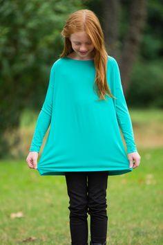 The Perfect Kids Long Sleeve Piko Top-Light Green