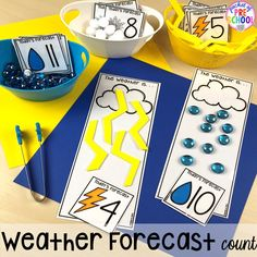 Weather Math and Literacy Centers for Preschool, Pre-K, and Kindergarten - Mathe Ideen 2020 Weather Activities Preschool, Weather Science, Weather Unit, Pre K Activities, Social Studies Activities, Preschool Science, Preschool Lessons, Preschool Classroom, Teaching Weather