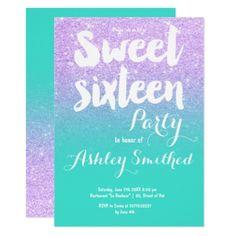 #Lavender turquoise glitter typography Sweet 16 Card - #sweet16 #invitations #sixteen #birthday #sweetsixteen #party #bday #birthdayparty