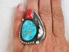 VTG Old Pawn Sterling Turquoise Coral Navajo Large Ring