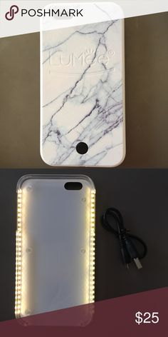 Lumee IPhone 6 6s Selfie Case Only for iPhone 6 or 6s. White marble light up selfie case. Accessories Phone Cases